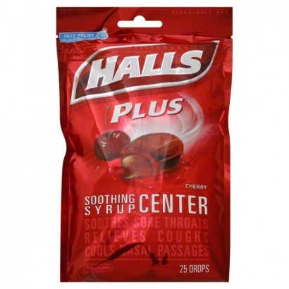 Halls PLUS Cough Drops, Soothing Syrup Center, Cherry Flavor, 25/pkg