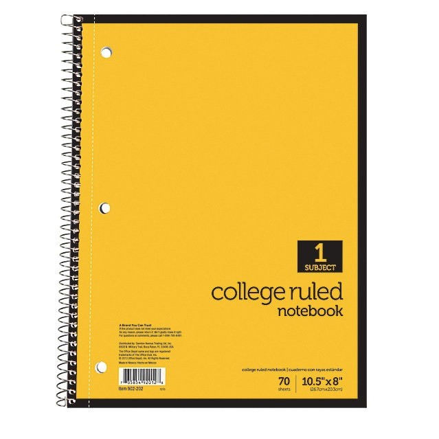 Wirebound Notebook, 8 X 10-1/2, Wide Ruled, 70 Sheets, 3-Hole Punched, Assorted Colors