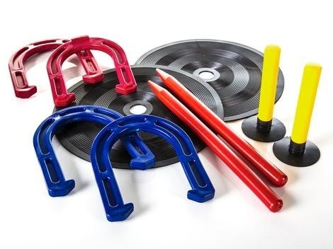 Rubber Horseshoe Set, Includes: 4 Shoes, 2 Mats With Pegs, 2 Outdoor Stakes
