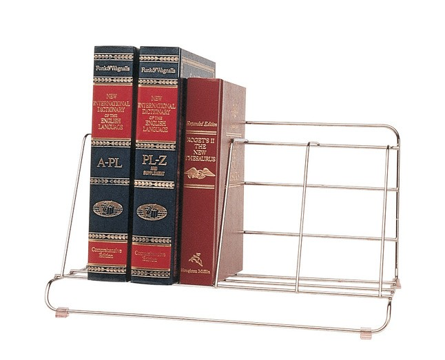 Wire Catalog Rack, 8 X 16-1/2 X 10 In., 4 Compartments, Vinyl, Bright Plated