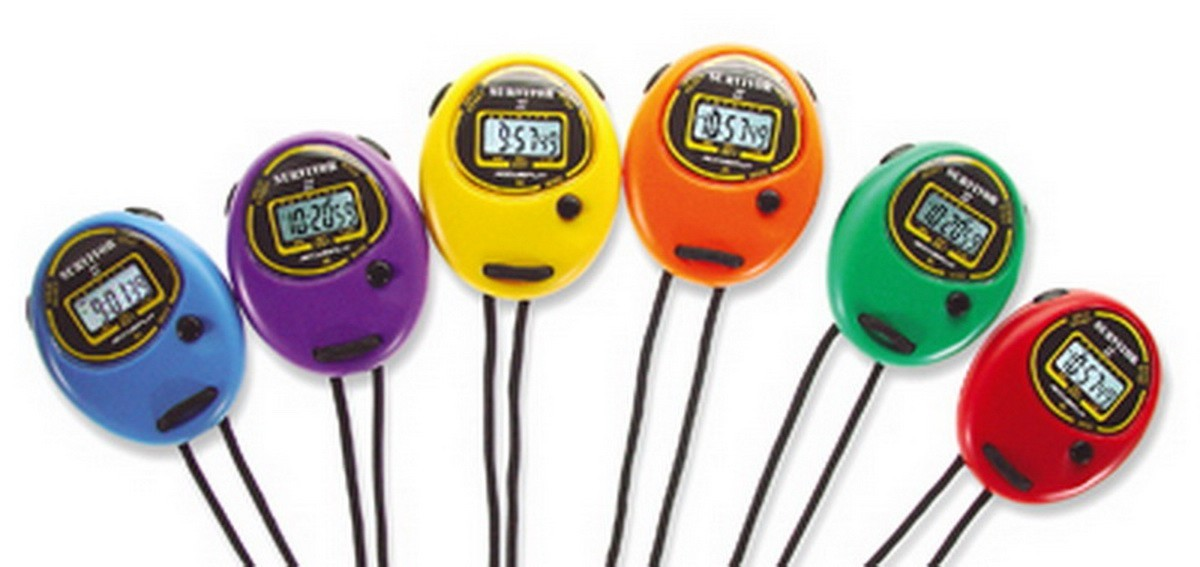 "Stopwatch Time Tracker Basic, Dual Mode Buttons And Easy-Read 1/2"" Displays 1/100 Sec, S2XL - Assorted Colors - 6/Set"