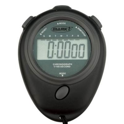 "Time Tracker Stopwatch, Dual Mode Buttons And Easy-Read 1/2"" Displays 1/100 Sec"