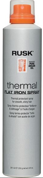Flat Iron Spray - Rusk Thermal Flat Iron Spray With Argan Oil, Burmax IRATHERMFS8A, 8.8 oz