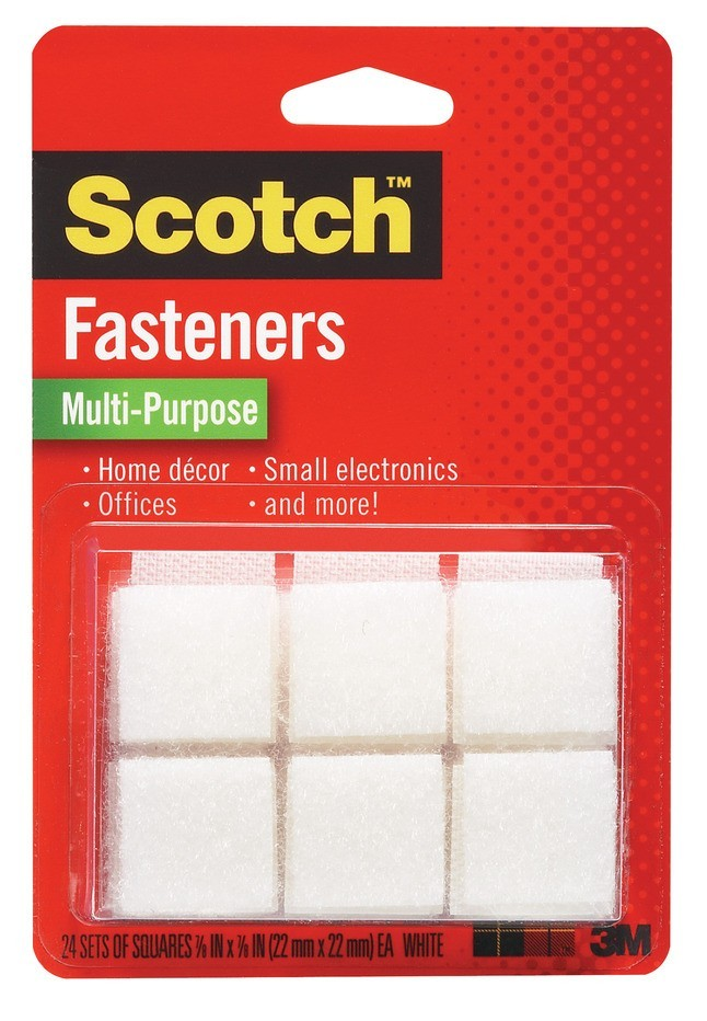 Scotch Hook and Loop Multi-Purpose Fastener for Indoor/Outdoor, 7/8 W X 7/8 L in, 1 lb, White, Pack of 24