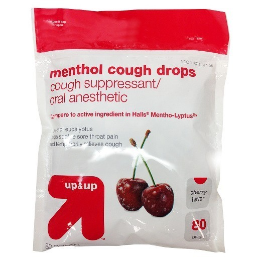 Generic Menthol Cough Drops, Cherry - 40/Pkg - 44536