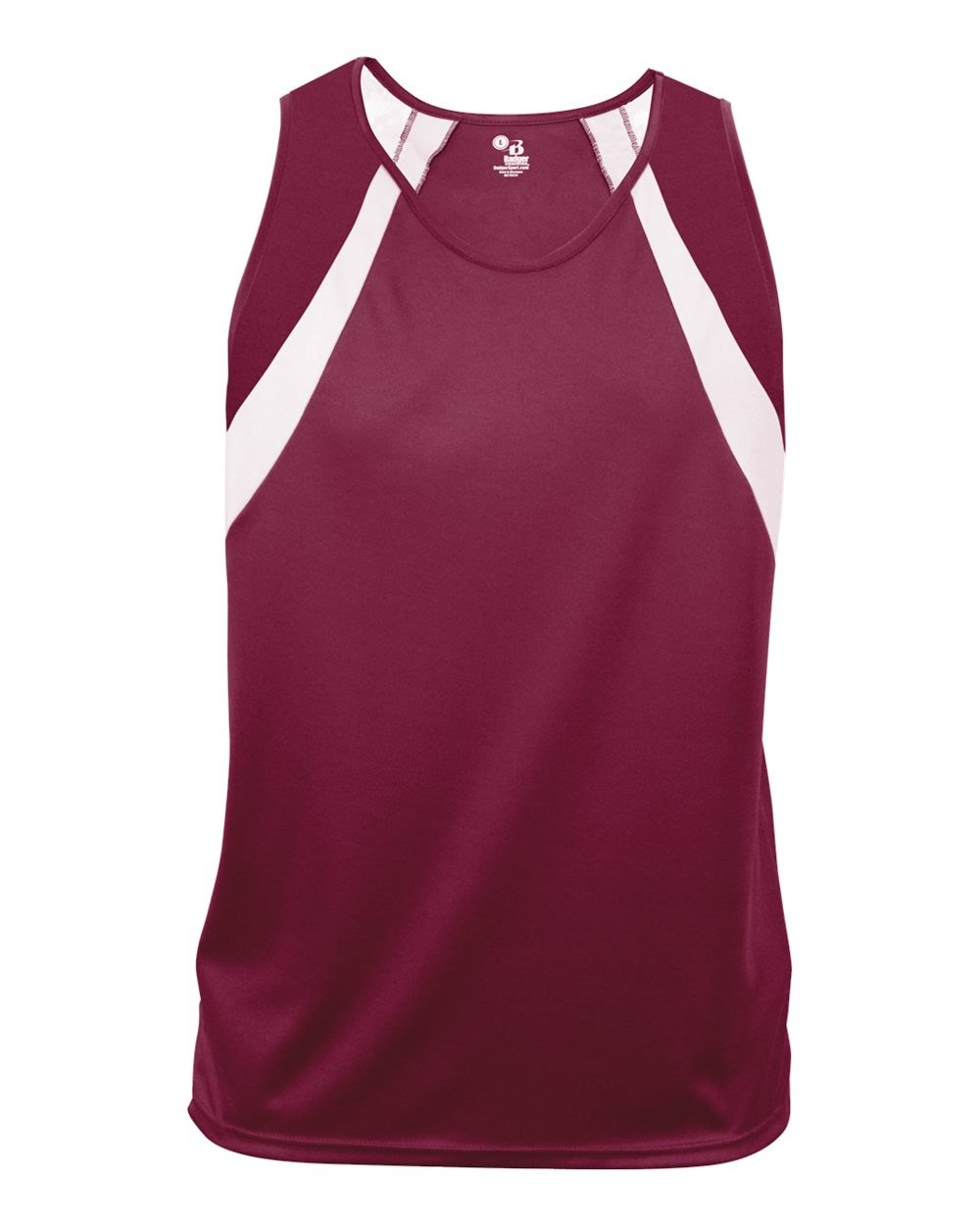 Russell Women's Singlet, Maroon/White, 2 Color Custom Screen Print, White And Gray, 6-8 Inch District logo, 7T2HPXK, Sizes XS-XXL