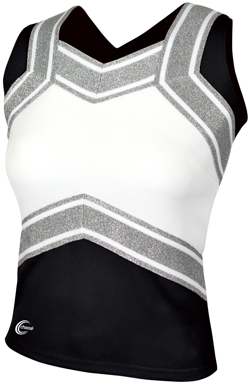 "Cheerleading Shell - Alleson, polyester, with 6"" x 8"" Express Train Logo on Center Front, Colors:  Black/White with Silver outline"
