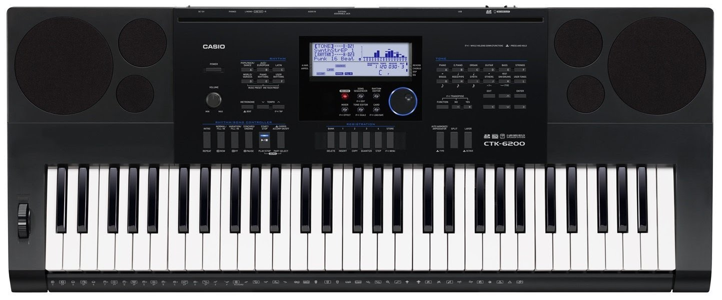 Keyboard - Casio CTK-6250, 61 Note Portable w/ AC Adapter
