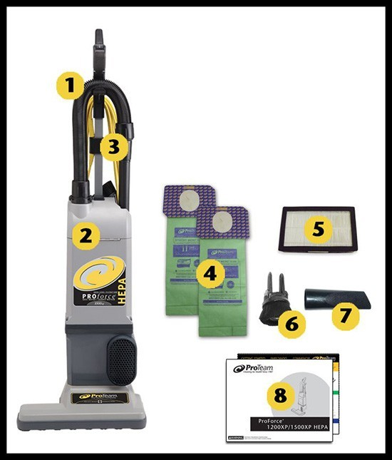 ProTeam Pro Force 1500XP Hepa Upright Vacuum, with attachments, 15 in. Cleaning Width.