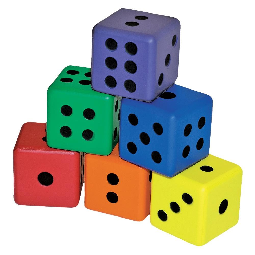 3 in. Colored Foam Dice - 6/Set - Flaghouse G19656