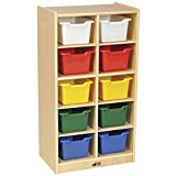 10 Cubby Unit with 10 Assorted Color Trays, 19-1/2 X 14-1/2 X 36-1/4 In., Wood with Plastic Trays