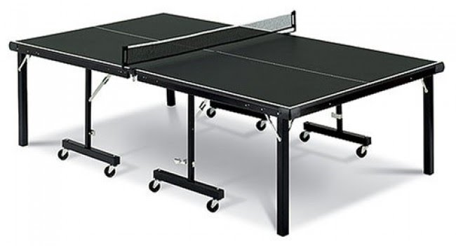 "Stiga InstaPlay Table Tennis Table, High Density Fiber-Board W/ Green Low Reflectivity Multi-Coated Surface. Fully Assembled, 3' Rubber Wheels, Net And Posts, 180 L X 60W X 30"" H"
