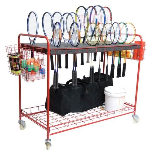 Badminton Cart, Laser Cut Foam Pockets Hold 40 Rackets, Bottom Storage Shelf, 52 X 25 X 45 Inch - 51-207