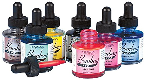 Airbrush Ink, Dropper Cap, 1 Oz. Jar, Assorted Colors - 7/Set