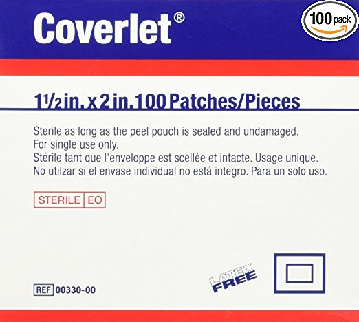 "1-1/2"" X 2"" Coverlet Adhesive Bandages, Patch, Plastic (Latex-Free) - 100/Box - 32060"