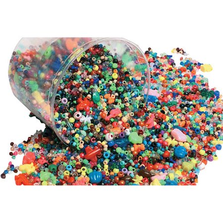 Plastic Bead, Assorted Size, Assorted Color, 3 lb Bucket, 3000/Pkg