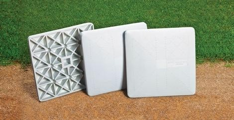 Indoor/Outdoor Softball Bases, Grid Bottom Base, White - 3/Set