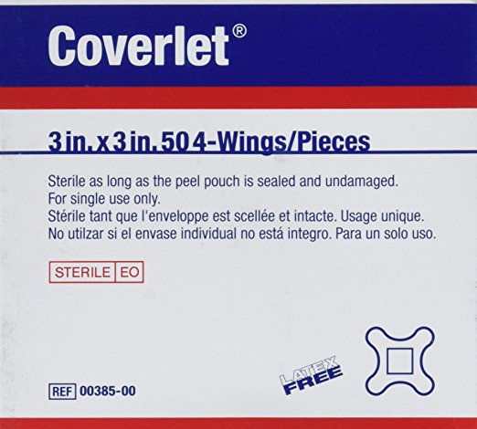 "3"" X 3"" Band-Aid Coverlet Four Wing Bandages (Latex-Free) - 50/Box - 32022"