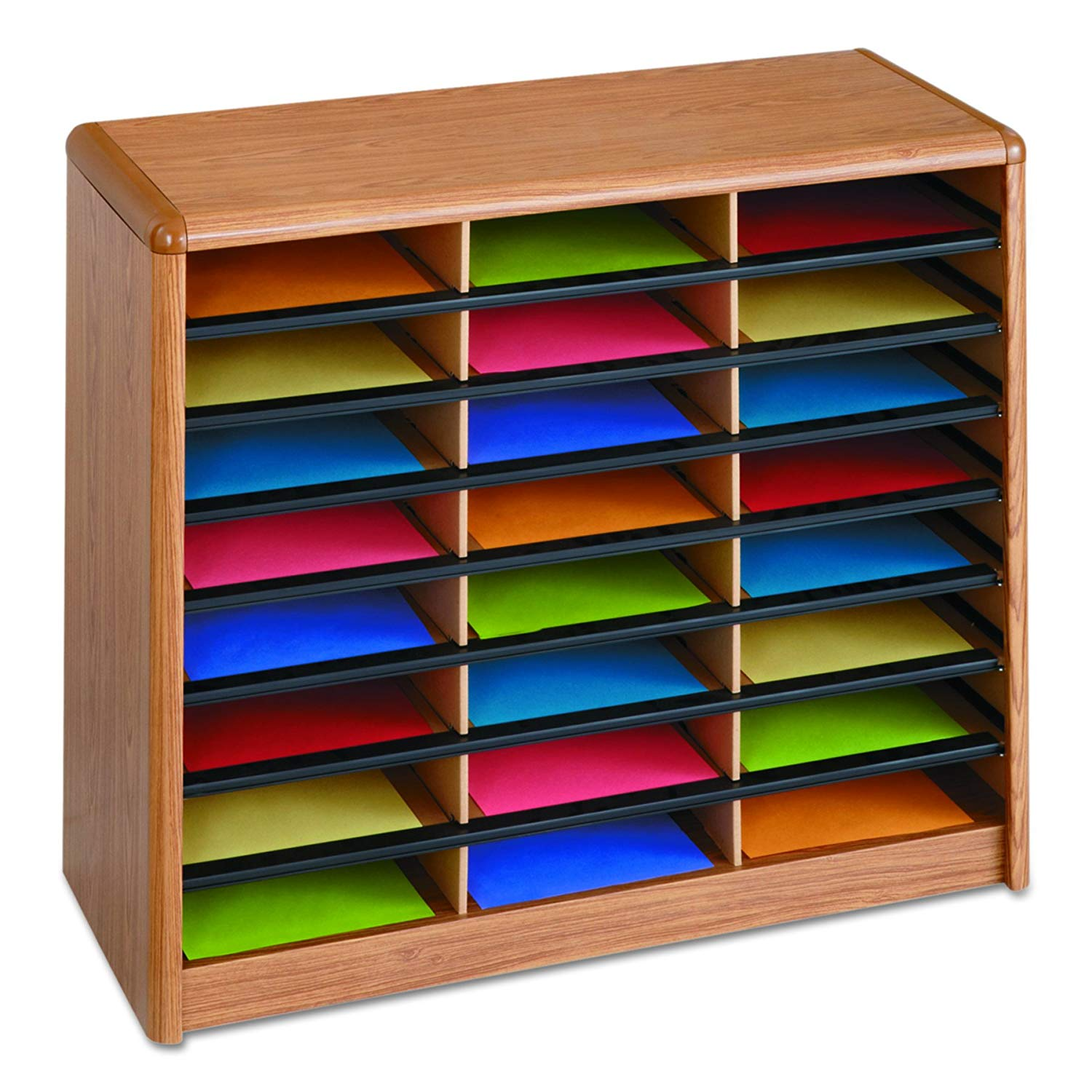Safco 24 Compartment Literature Organizer, Wood, Adjustable Shelves - 7111MO