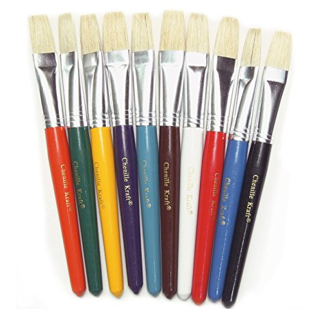 "Flat Tip Stubby Easel Brush, 7-1/2"", Assorted Colors - 10/Set"