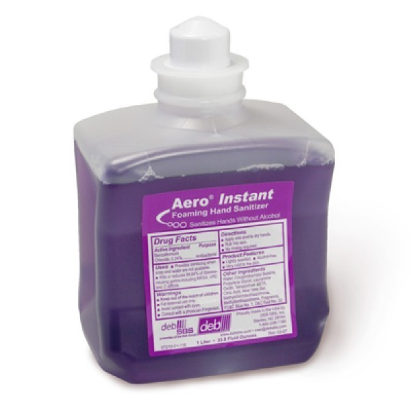 Aero Instant DEB SBS Hand Sanitizer, Foaming, Non Alcohol, Contains Moister Emollients, 1 Liter Cont. - 8/Case