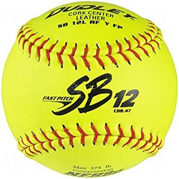 Dudley Softball, Yellow, Leather Cover NFHS, SB12LRFY-FP-NFHS - Doz