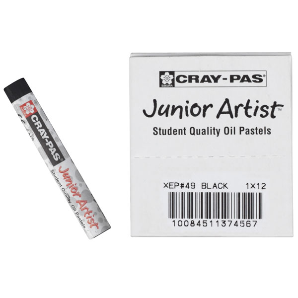 Cray-Pas, Oil Pastels, Sakura Junior Artist, Black - 12/Set