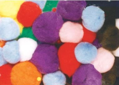 Chenille Kraft Non-Toxic Pom Pon, 1 in, Assorted Bright Color, Pack of 100