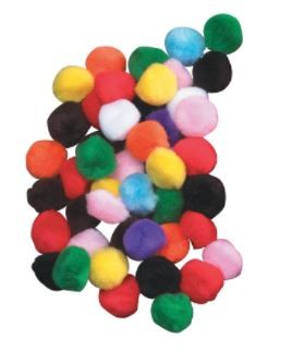 1/2 Inch Chenille Kraft Soft N Lively Mini Pom Pons, Assorted Hot Colors, 100/Pkg