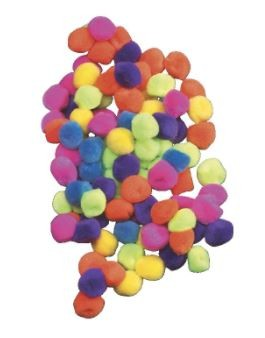 Chenille Kraft Acrylic Soft N Lively Mini Non-Toxic Pom Pon, 1 in, Assorted Hot Color - 50/Pkg