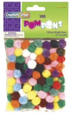 Chenille Kraft Acrylic Soft N Lively Mini Non-Toxic Pom Pon, 1/2 in, Assorted Bright Color, Pack of 100