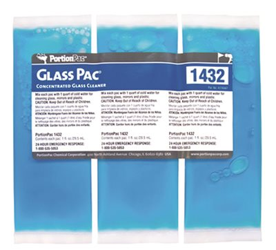GlassPac Glass Cleaner, Portion Pac #1432 - Makes 1 Quart, 25 Pkg/Box - 6 Boxes/Case