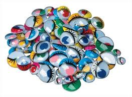 Chenille Kraft Flat Back Wiggle Eye with Painted Lids and Lashes, Assorted Size, Assorted Color - 100/Pkg