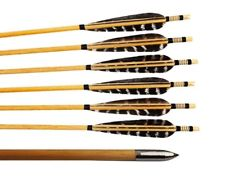 "26 X 5/16"" Standard Hardwood Arrows With Feather Fletching - Doz"