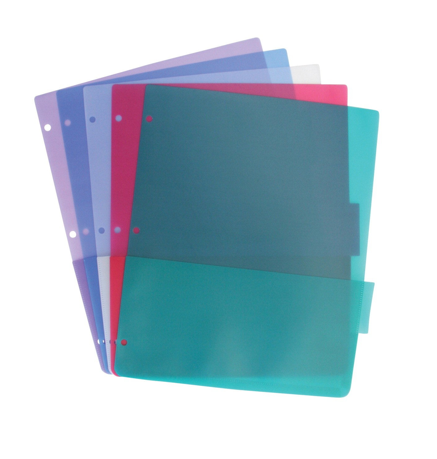 Tab Dividers with 2 Pockets, 8-1/2 X 11, Plastic, Assorted Colors - 5/Set