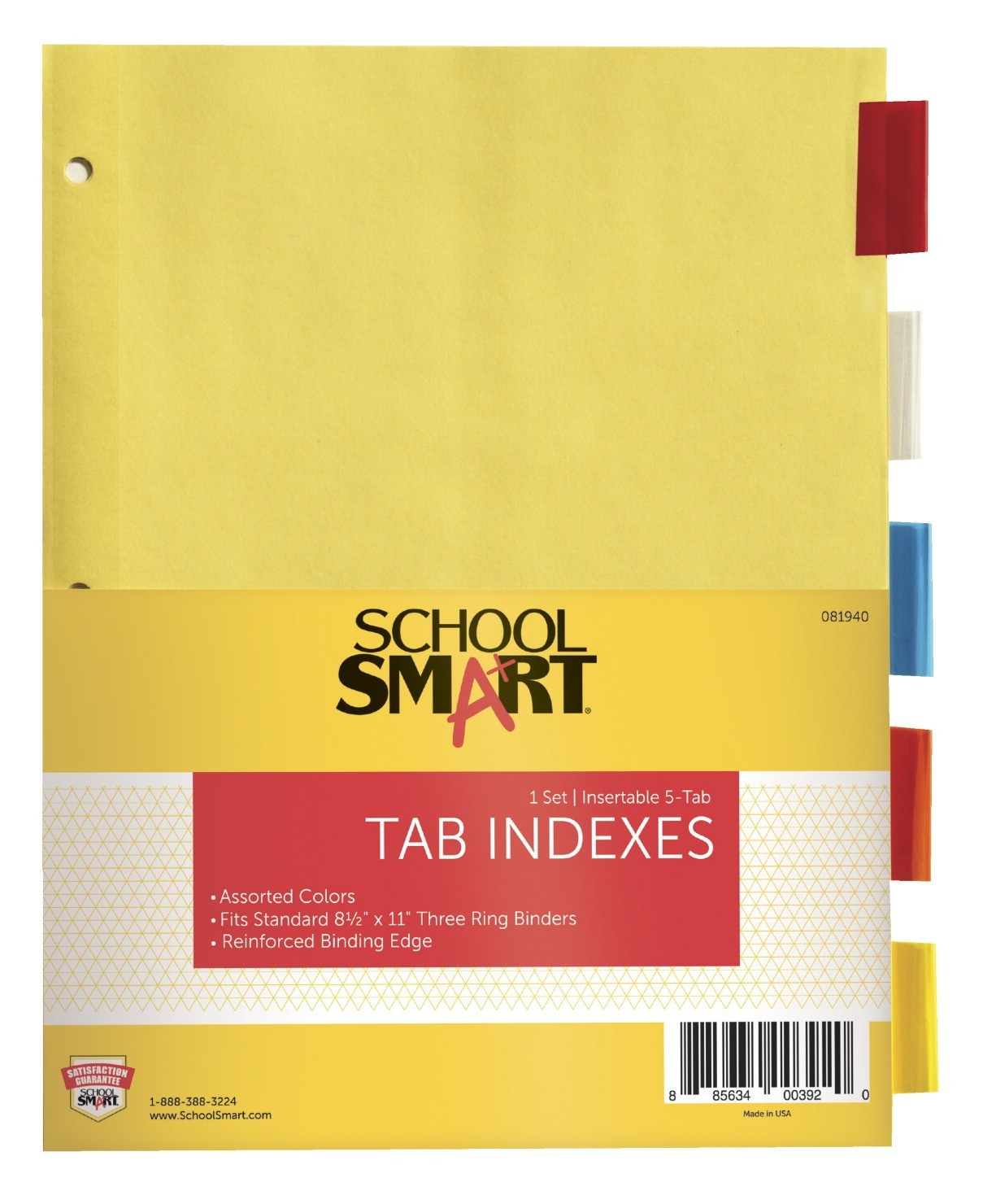 Insertable Tab Indexes, 8-1/2 X 11, 3-Hole Punch, Assorted Colors, 5/Pkg