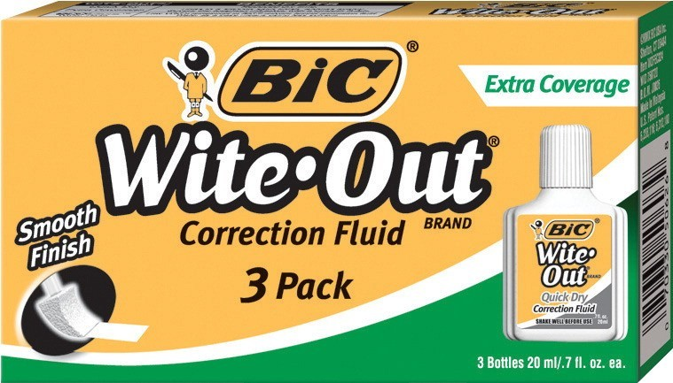 BIC Wite-Out Correction Fluid, Pack of 3