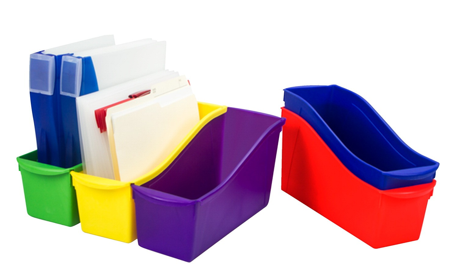 Storex Interlocking Book Bins, Assorted Colors, 5/Set
