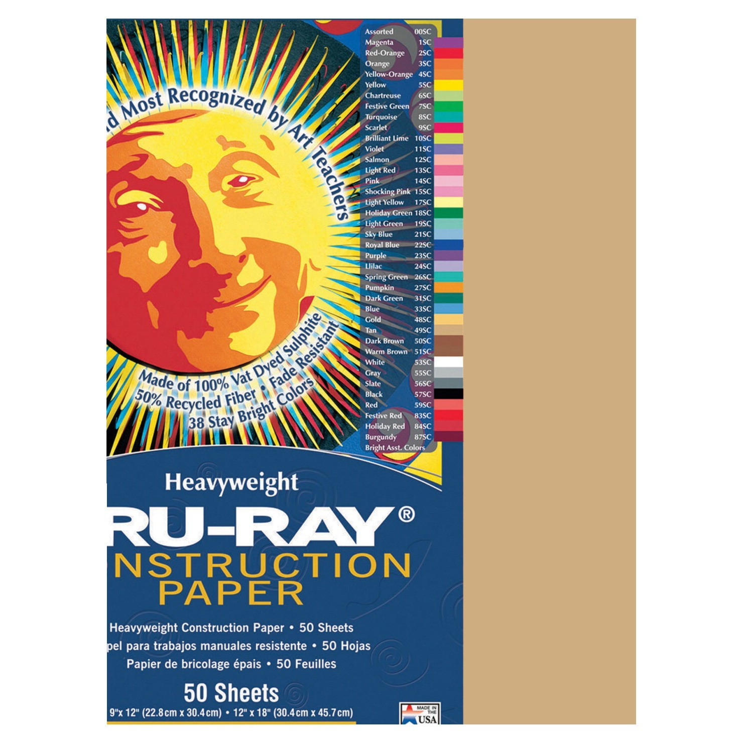 12 X 18 Tru-Ray Construction Paper - 50/Pkg - Tan