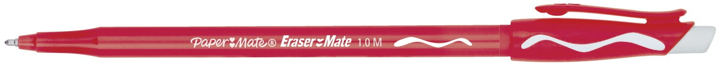 Paper Mate Erasermate Pen, Medium Point - 12/Pkg - Red