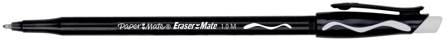 Paper Mate Erasermate Pen, Medium Point - 12/Pkg - Black