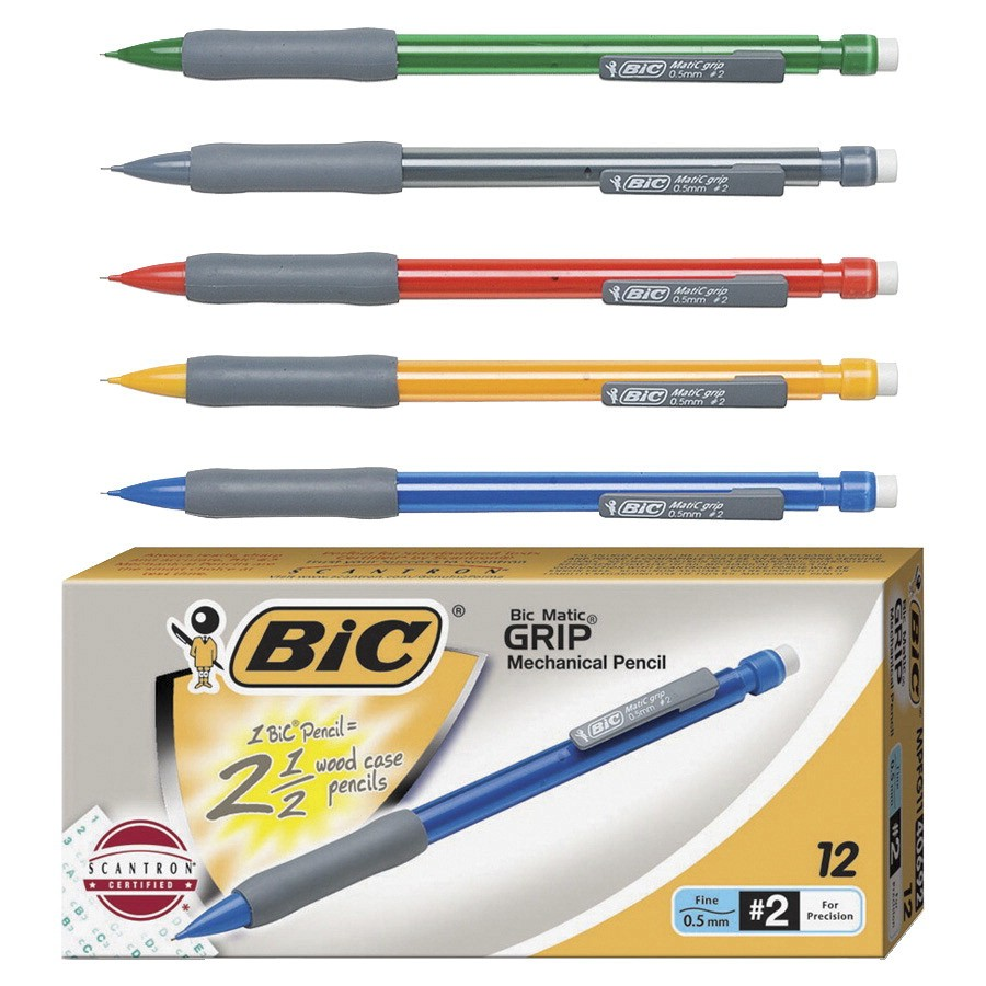 BIC Matic Grip Latex-Free Mechanical Pencil, No 2, 0.5 mm HB Tip, Assorted Color, Pack of 12 - BICMPFG11
