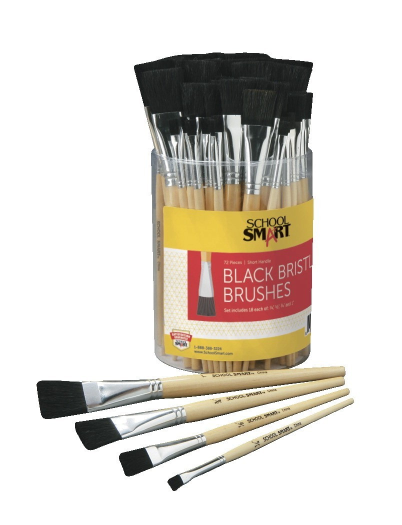 School Smart Interlocked Black Bristle Short Handle Paint Brush Set, Assorted Size, Clear, Set of 24