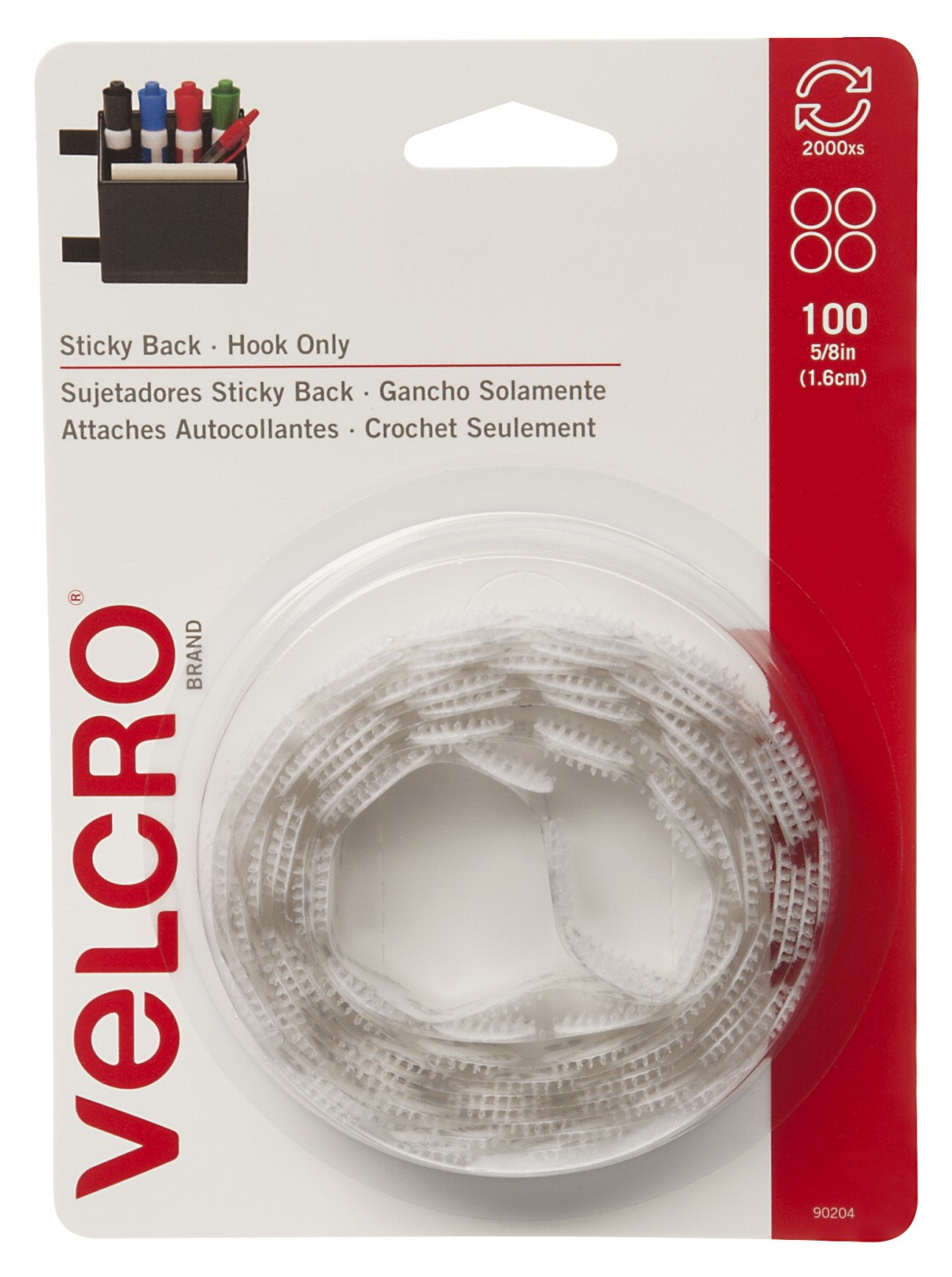 Velcro Sticky-Back Poster Hanger Coin with Hook, 5/8 in, White, Pack of 100