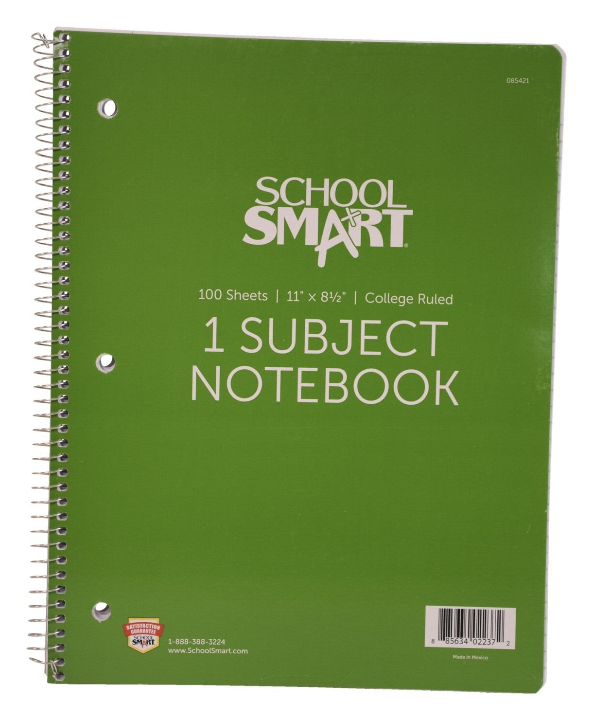 Spiral Notebook, 8-1/2 X 11, Ruled 9/32, Three-Hole Punched, 1 Subject - 100 Sheets