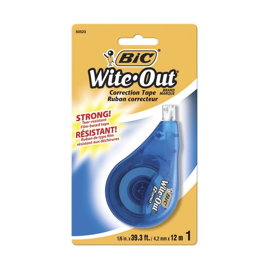 BIC Wite-Out Correction Tape, Tear-Resistant, 1/5 In, White