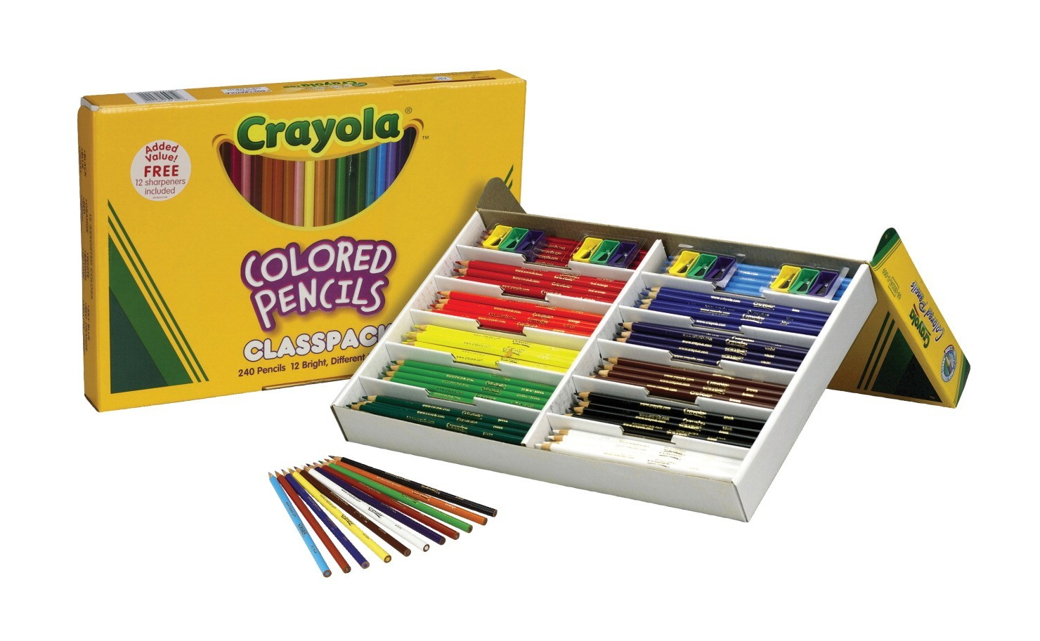 Crayola Colored Pencil Class Pack, Pre-sharpened Pencils In Sturdy Storage Boxes With Flip Up Lids, 20 Each Of 12 Colors - 240/Pkg