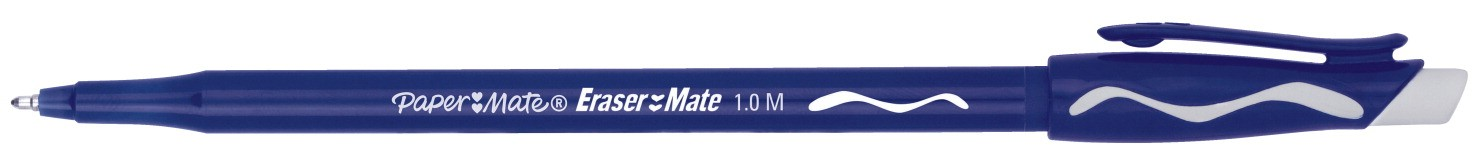 Paper Mate Erasermate Pen, Medium Point - 12/Pkg - Blue