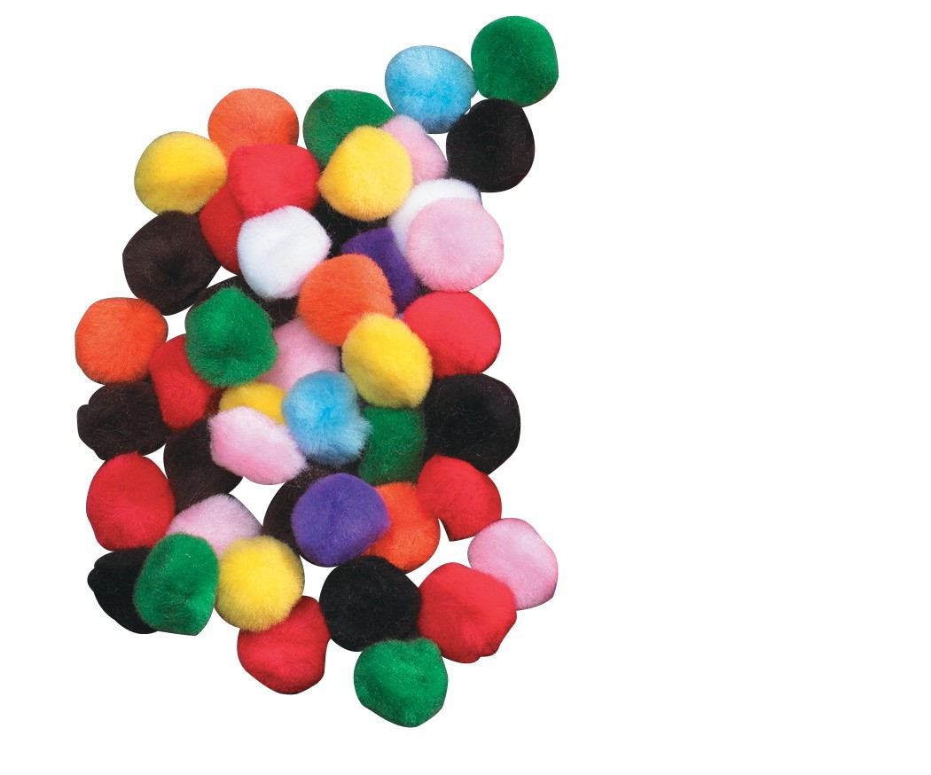 Chenille Kraft Acrylic Soft N Lively Mini Non-Toxic Pom Pon, 1 in, Assorted Bright Color, Pack of 50