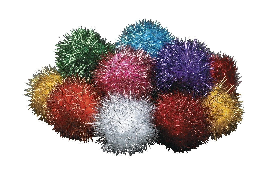 Chenille Kraft Glitter Pom, 1 in, Assorted Color, Pack of 40